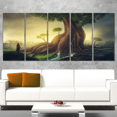 Designart Giant Tree With Woman Abstract Print OnCanvas - 5Panels