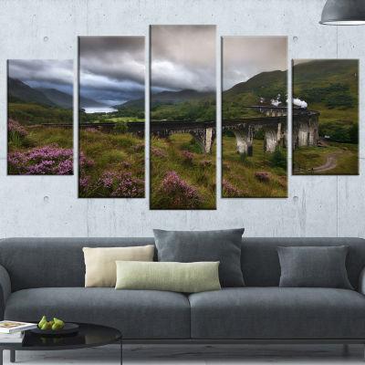 Designart Glenfinnan Viaduct Scotland Landscape PhotographyWrapped Canvas Print - 5 Panels