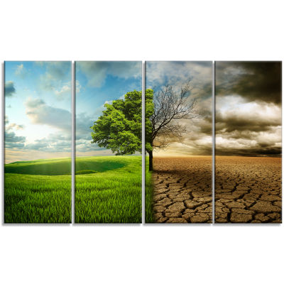 Designart Global Warming Landscape Canvas Art Print - 4 Panels