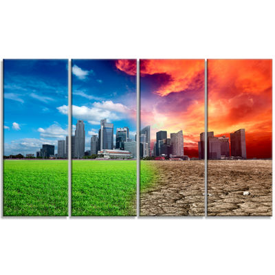 Designart Global Warming Large Landscape Canvas Art Print -4 Panels
