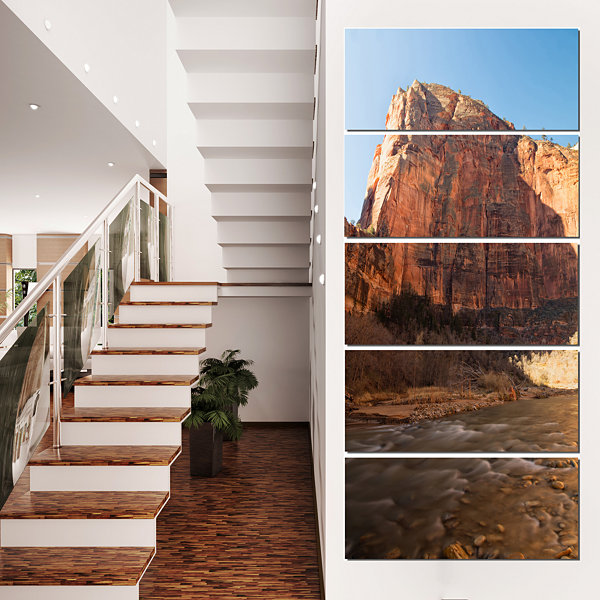 Designart Glow Of Morning Landscape Photography Canvas Art Print - 4 Panels