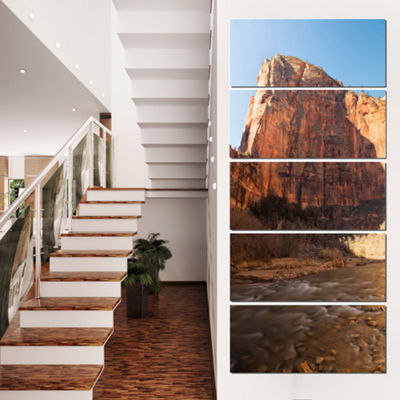 Designart Glow Of Morning Landscape Photography Canvas Art Print - 5 Panels