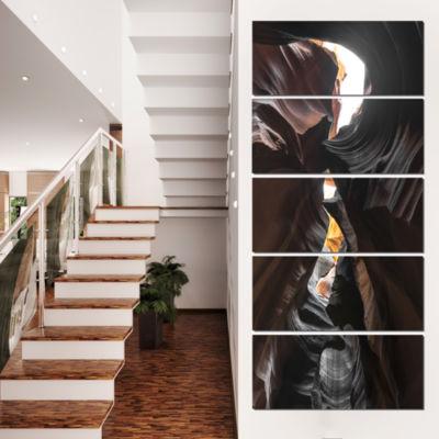 Designart Glowing Antelope Canyon Landscape PhotoCanvas ArtPrint - 5 Panels