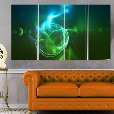 Designart Glowing Green Circles Abstract Canvas Art Print -4 Panels