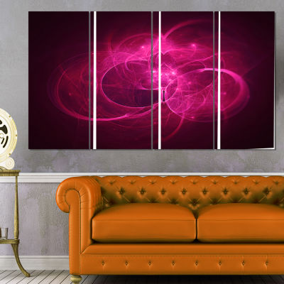 Designart Glowing Magenta Circles Abstract CanvasArt Print- 4 Panels