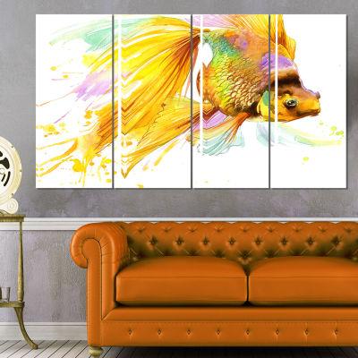 Designart Gold Fish Illustration Animal Art CanvasPrint - 4Panels