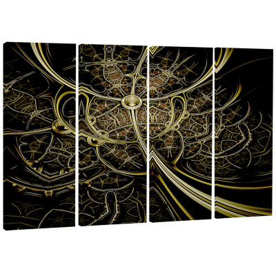 Gold Metallic Fabric Pattern Abstract Print On Canvas - 4 Panels