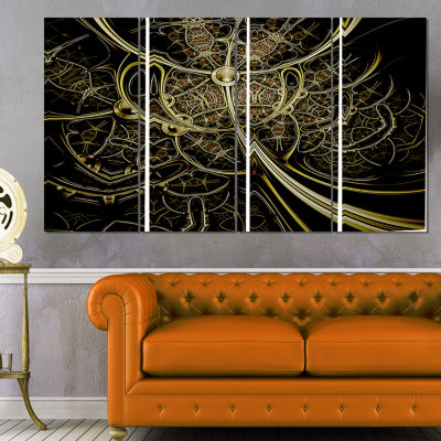 Designart Gold Metallic Fabric Pattern Abstract Print On Canvas - 4 Panels