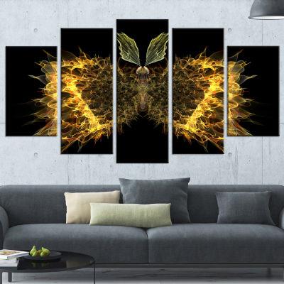 Designart Golden Fractal Butterfly In Dark Contemporary Canvas Art Print - 5 Panels