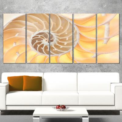 Designart Golden Nautilus Shell Pattern Abstract Canvas ArtPrint - 5 Panels