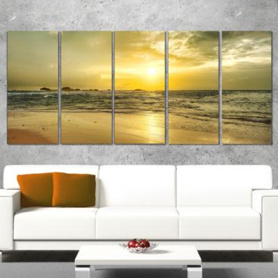 Designart Golden Sunset Over Sea Seashore Photography CanvasPrint - 4 Panels