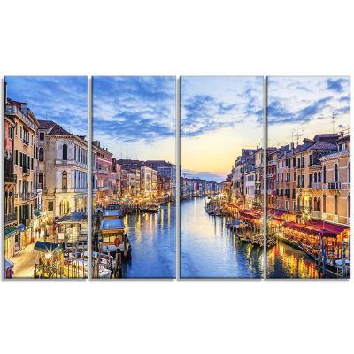 Designart Grand Canal Panorama Landscape Photography CanvasPrint - 4 Panels