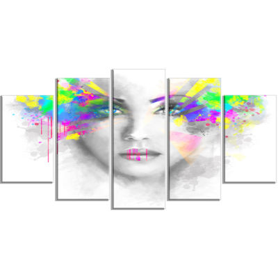 Gray Woman With Green Flowers Abstract Portrait Canvas Print - 4 Panels