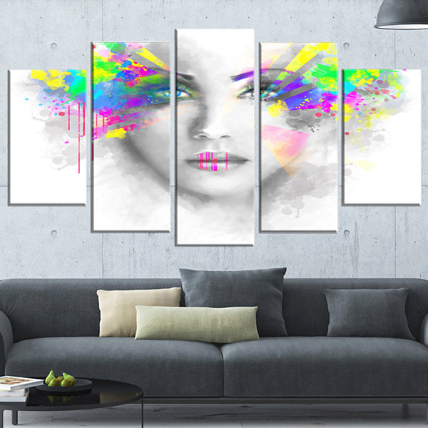 Designart Gray Woman With Green Flowers Abstract Portrait Wrapped Canvas Print - 5 Panels