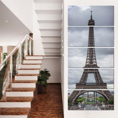 Designart Grayscale Paris Eiffel Tower Cityscape PhotographyCanvas Print - 5 Panels