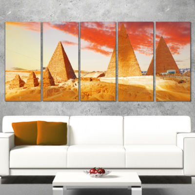 Designart Great Pyramids At Giza Landscape Art Print Canvas- 5 Panels