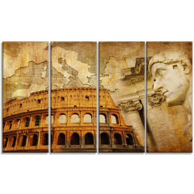 Designart Great Roman Empire Digital Art Collage Canvas Art- 4 Panels