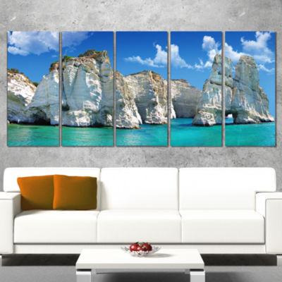 Designart Greek Holidays Cityscape Photo Canvas Art Print -5 Panels