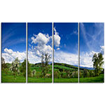 Designart Green Blue Spring Landscape PhotographyCanvas ArtPrint - 4 Panels