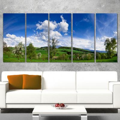 Designart Green Blue Spring Landscape PhotographyCanvas ArtPrint - 4 Panels