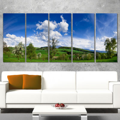 Green Blue Spring Landscape Photography Canvas ArtPrint - 5 Panels