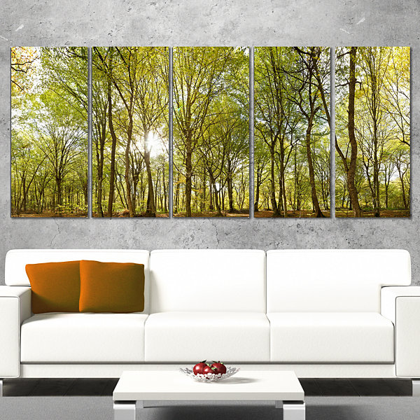 Designart Green Forest Panoramic View Landscape PhotographyCanvas Print - 5 Panels