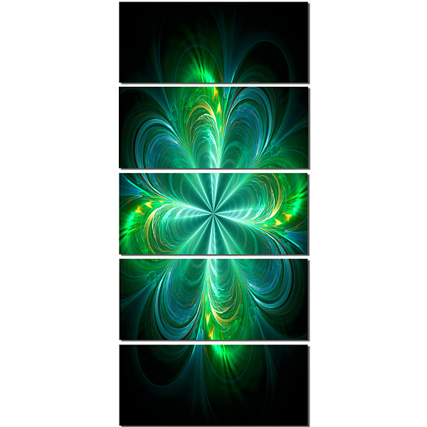 Designart Green Fractal Flower Blooming Abstract Canvas ArtPrint - 4 Panels