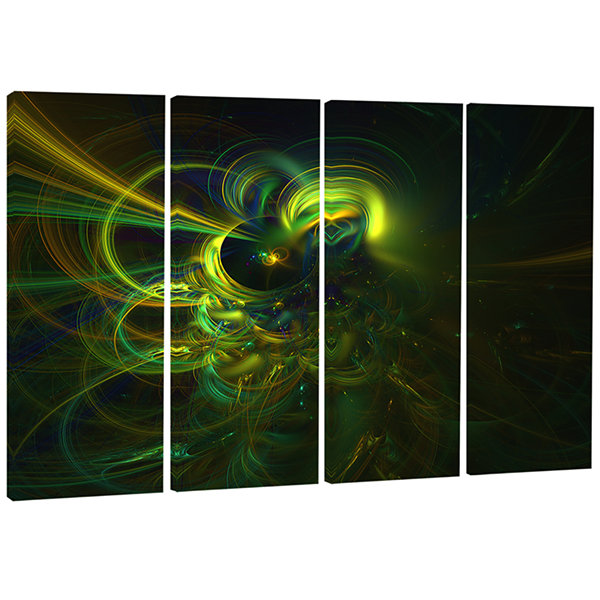 Designart Green Fractal Light Forms Abstract Art Print - 4 Panels