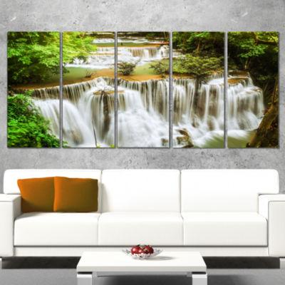 Designart Green Huymea Kamin Waterfall PhotographyCanvas Art Print - 4 Panels