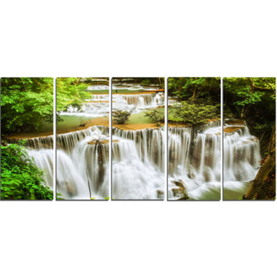 Designart Green Huymea Kamin Waterfall PhotographyCanvas Art Print - 5 Panels