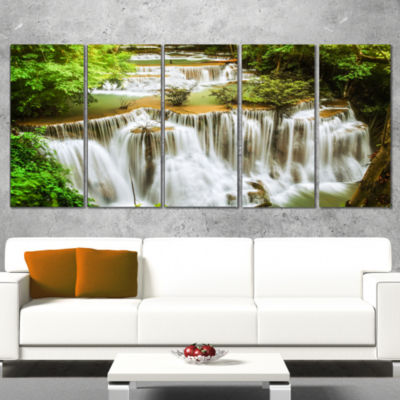 Green Huymea Kamin Waterfall Photography Canvas Art Print - 5 Panels