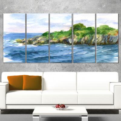 Designart Green Island In Sea Watercolor SeascapeCanvas Print - 4 Panels