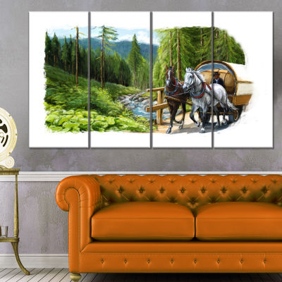 Green Landscape With Horse Abstract Print On Canvas - 4 Panels