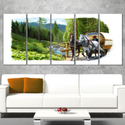 Designart Green Landscape With Horse Abstract Print On Canvas - 4 Panels