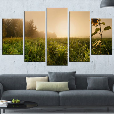 Designart Green Panoramic Landscape Photography Wrapped Canvas Art Print - 5 Panels