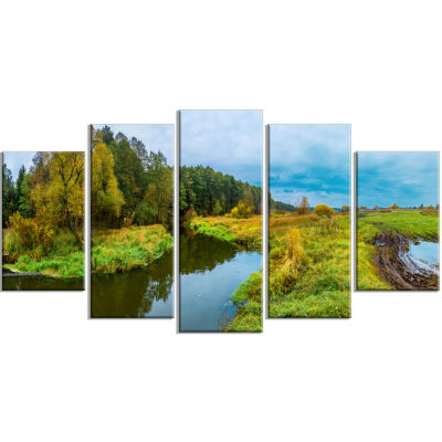 Green Park By The Lake Landscape Photography Canvas Art Print - 5 Panels