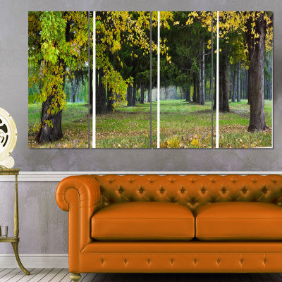 Green Park In Autumn Landscape Photography CanvasPrint - 4 Panels