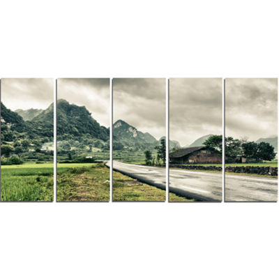 Designart Green Rural Village Landscape Photography Canvas Art Print - 4 Panels
