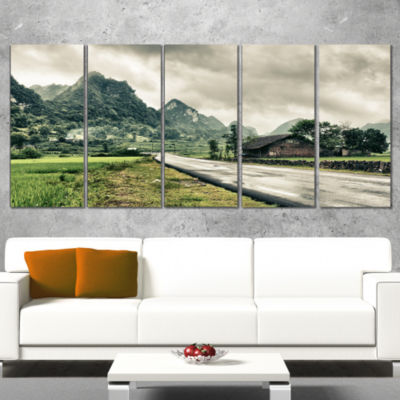 Green Rural Village Landscape Photography Canvas Art Print - 4 Panels
