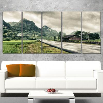 Green Rural Village Landscape Photography Canvas Art Print - 5 Panels