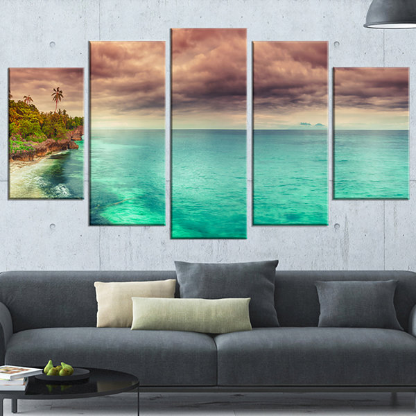 Designart Green Sunset Panorama View Seascape Photography Canvas Art Print - 5 Panels