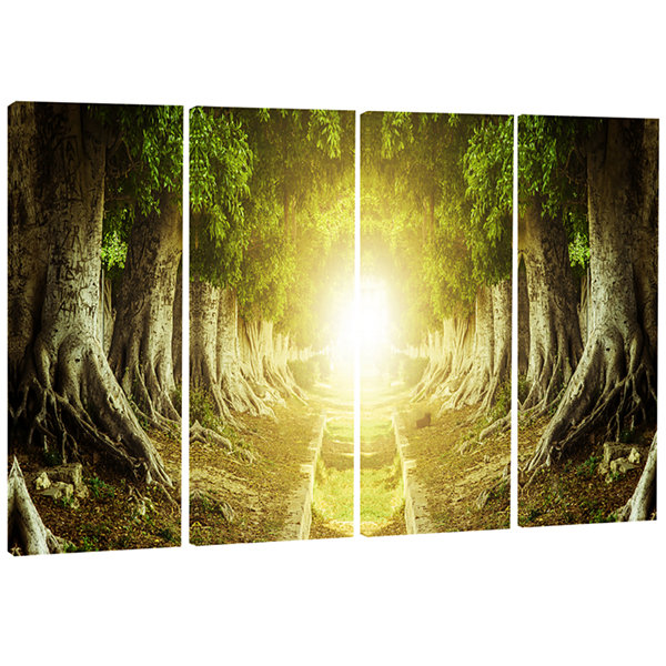 Designart Green Tree Tunnel Landscape Photo CanvasArt Print- 4 Panels