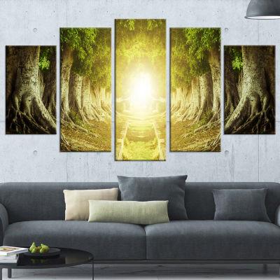 Designart Green Tree Tunnel Landscape Photo Wrapped Canvas Art Print - 5 Panels