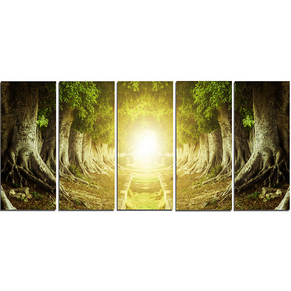Designart Green Tree Tunnel Landscape Photo CanvasArt Print- 5 Panels