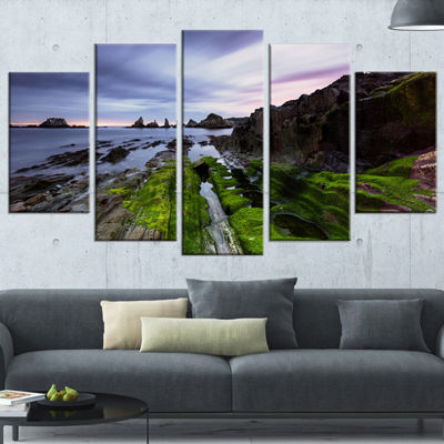 Designart Gueirua Beach In Spain Seashore Photography CanvasPrint - 4 Panels