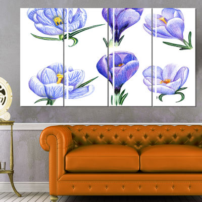 Hand Drawn Crocuses Floral Painting Canvas - 4 Panels