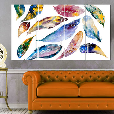 Designart Hand Drawn Feather Set Watercolor CanvasArt Print- 4 Panels