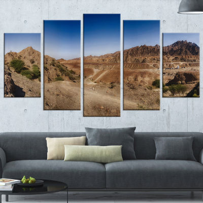 Hatta Mountains Landscape Photography Wrapped Canvas Art Print - 5 Panels