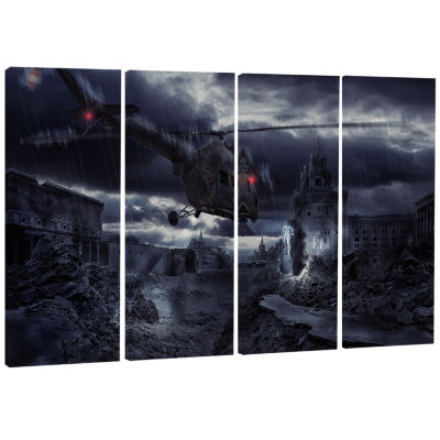 Helicopter Over Storm Ruined City Photography Canvas Art Print - 4 Panels