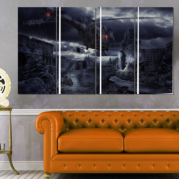 Designart Helicopter Over Storm Ruined City Photography Canvas Art Print - 4 Panels